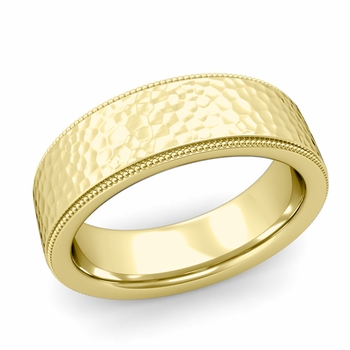 Milgrain Flat Wedding Ring in 18k Gold Comfort Fit Band, Hammered Finish, 7mm