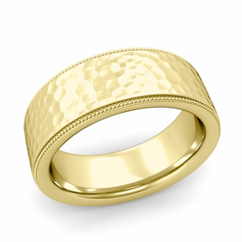 Milgrain Flat Wedding Ring in 18k Gold Comfort Fit Band, Hammered Finish, 8mm
