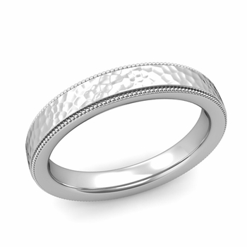 Milgrain Flat Wedding Ring in Platinum Comfort Fit Band, Hammered Finish, 4mm