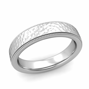 Milgrain Flat Wedding Ring in Platinum Comfort Fit Band, Hammered Finish, 5mm