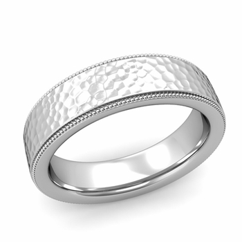 Milgrain Flat Wedding Ring in Platinum Comfort Fit Band, Hammered Finish, 6mm