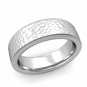 Milgrain Flat Wedding Ring in Platinum Comfort Fit Band, Hammered Finish, 7mm