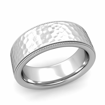 Milgrain Flat Wedding Ring in Platinum Comfort Fit Band, Hammered Finish, 8mm