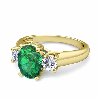 Classic Diamond and Emerald Three Stone Ring in 18k Gold, 9x7mm