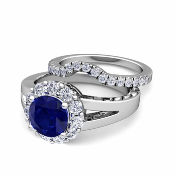Radiant Diamond and Sapphire Halo Engagement Ring Bridal Set in Platinum, 7mm