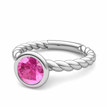 Bezel Set Solitaire Pink Sapphire Ring in 14k Gold Twisted Rope Band, 7mm