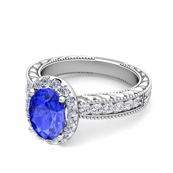 Vintage Inspired Diamond and Ceylon Sapphire Engagement Ring in 14k Gold, 7x5mm