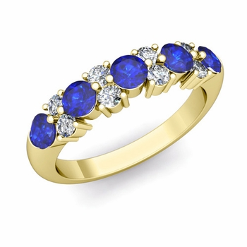 Garland Diamond and Sapphire Wedding Ring in 18k Gold