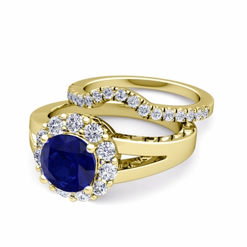 Radiant Diamond and Sapphire Halo Engagement Ring Bridal Set in 18k Gold, 7mm