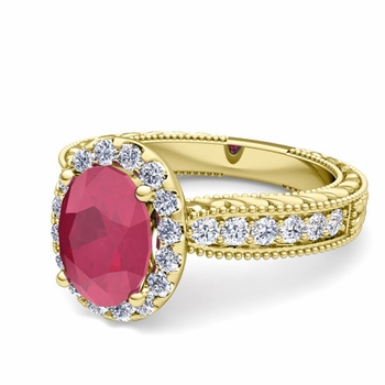 Vintage Inspired Diamond and Ruby Engagement Ring in 18k Gold, 7x5mm