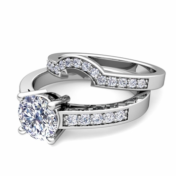 Pave Diamond and Solitaire Engagement Ring Bridal Set in 14k Gold
