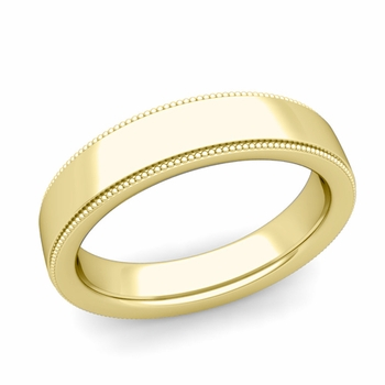 Milgrain Flat Wedding Ring in 18k Gold Comfort Fit Band, Polished Finish, 5mm