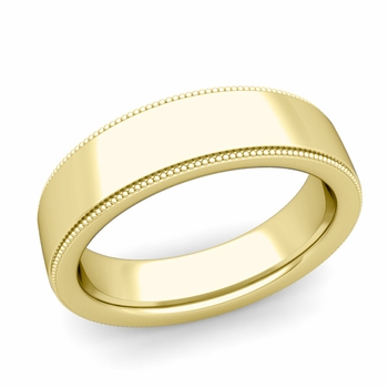 Milgrain Flat Wedding Ring in 18k Gold Comfort Fit Band, Polished Finish, 6mm