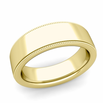 Milgrain Flat Wedding Ring in 18k Gold Comfort Fit Band, Polished Finish, 7mm