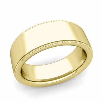 Milgrain Flat Wedding Ring in 18k Gold Comfort Fit Band, Polished Finish, 8mm