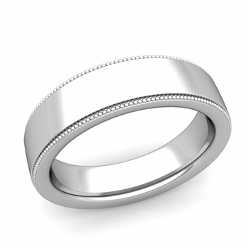 Milgrain Flat Wedding Ring in Platinum Comfort Fit Band, Polished Finish, 6mm