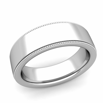 Milgrain Flat Wedding Ring in Platinum Comfort Fit Band, Polished Finish, 7mm