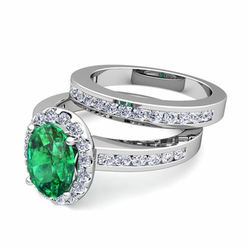 Halo Bridal Set: Diamond and Emerald Engagement Wedding Ring in 14k Gold, 7x5mm