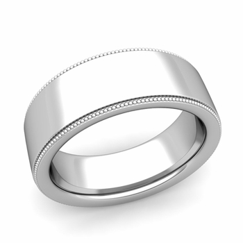 Milgrain Flat Wedding Ring in Platinum Comfort Fit Band, Polished Finish, 8mm