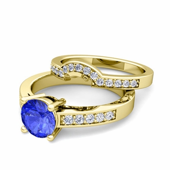 Pave Diamond and Solitaire Ceylon Sapphire Engagement Ring Bridal Set in 18k Gold, 7mm