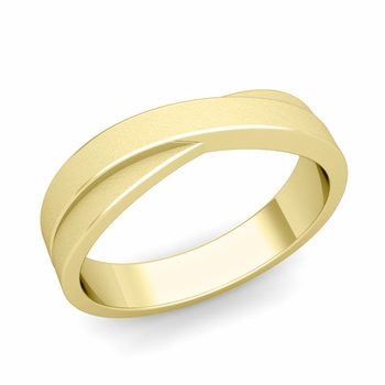 Infinity Wedding Band in 18k Gold Brushed Finish Comfort Fit Ring, 5mm