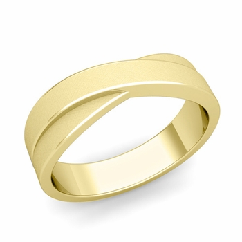 Infinity Wedding Band in 18k Gold Brushed Finish Comfort Fit Ring, 6mm