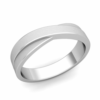Infinity Wedding Band in Platinum Brushed Finish Comfort Fit Ring, 5mm