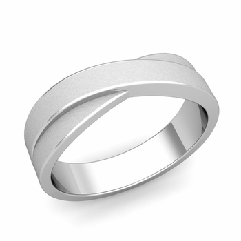 Infinity Wedding Band in Platinum Brushed Finish Comfort Fit Ring, 6mm