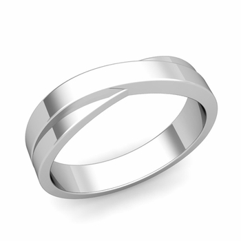 Infinity Wedding Band in 14k Gold Polished Finish Comfort Fit Ring, 5mm
