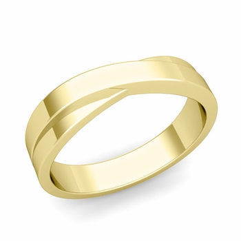 Infinity Wedding Band in 18k Gold Polished Finish Comfort Fit Ring, 5mm