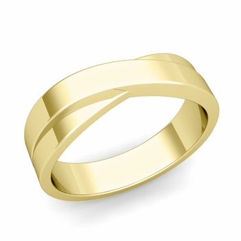 Infinity Wedding Band in 18k Gold Polished Finish Comfort Fit Ring, 6mm