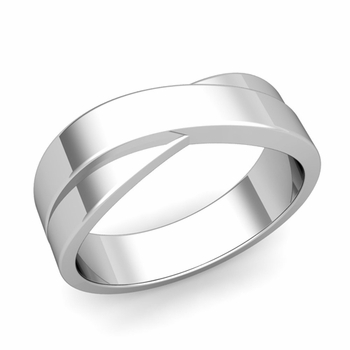 Infinity Wedding Band in 14k Gold Polished Finish Comfort Fit Ring, 7mm