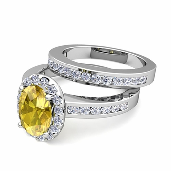 Halo Bridal Set: Diamond and Yellow Sapphire Engagement Wedding Ring in Platinum, 7x5mm
