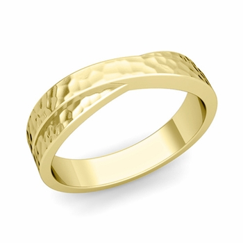 Infinity Wedding Band in 18k Gold Hammered Comfort Fit Ring, 5mm