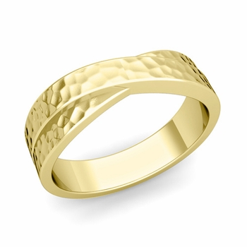 Infinity Wedding Band in 18k Gold Hammered Comfort Fit Ring, 6mm
