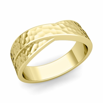 Infinity Wedding Band in 18k Gold Hammered Comfort Fit Ring, 7mm