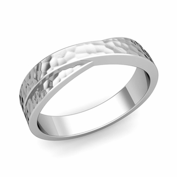 Infinity Wedding Band in Platinum Hammered Comfort Fit Ring, 5mm
