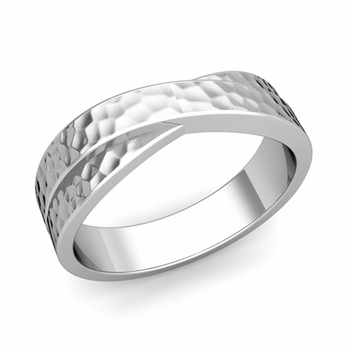 Infinity Wedding Band in Platinum Hammered Comfort Fit Ring, 6mm