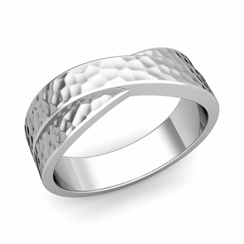 Infinity Wedding Band in Platinum Hammered Comfort Fit Ring, 7mm