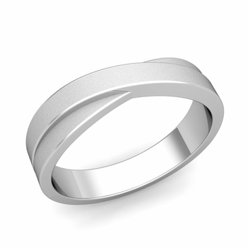 Infinity Wedding Band in 14k Gold Matte Finish Comfort Fit Ring, 5mm