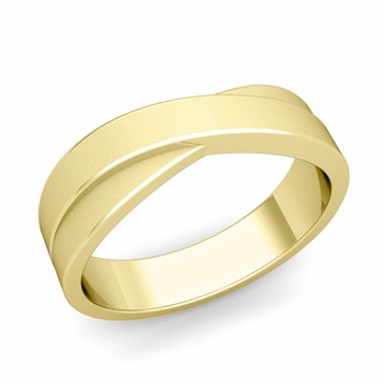 Infinity Wedding Band in 18k Gold Matte Finish Comfort Fit Ring, 6mm