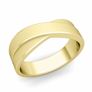 Infinity Wedding Band in 18k Gold Matte Finish Comfort Fit Ring, 7mm