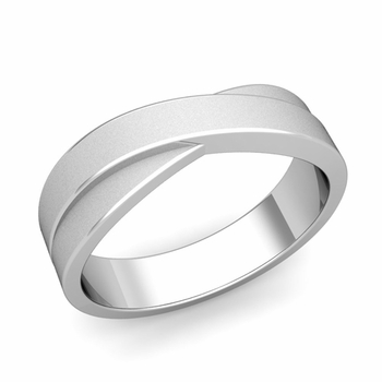 Infinity Wedding Band in Platinum Matte Finish Comfort Fit Ring, 6mm