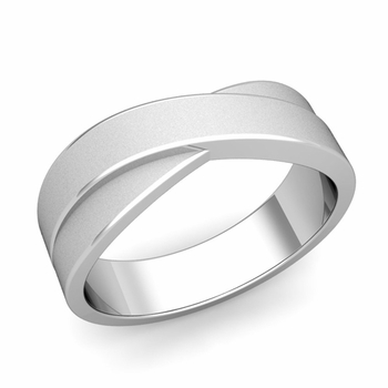 Infinity Wedding Band in Platinum Matte Finish Comfort Fit Ring, 7mm