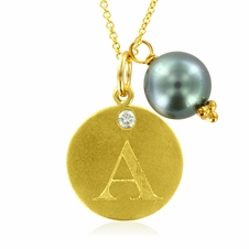Initial Necklace, Letter A Diamond Pendant with a Pearl Charm in 18k Yellow Gold