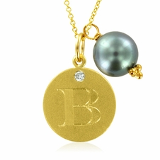 Initial Necklace, Letter B Diamond Pendant with a Pearl Charm in 18k Yellow Gold