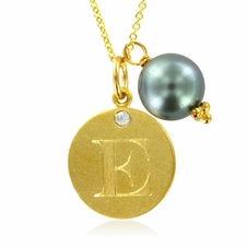 Initial Necklace, Letter E Diamond Pendant with a Pearl Charm in 18k Yellow Gold