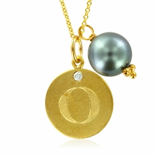 Initial Necklace, Letter O Diamond Pendant with a Pearl Charm in 18k Yellow Gold