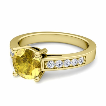 Pave Diamond and Solitaire Yellow Sapphire Engagement Ring in 18k Gold, 5mm