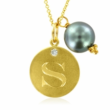 Initial Necklace, Letter S Diamond Pendant with a Pearl Charm in 18k Yellow Gold